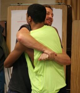 Douglas Heel saying goodbye to Julian Love.