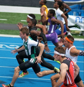 This picture shows Alex Teague (green & white) leading the 100-meter finals at the IHSA State Track Meet. In the state prelims, Teague ran 10.52. Chris Korfist was his coach. Teague attended the Be-Activated Seminar in July and will run for the University of Wisconsin this year.